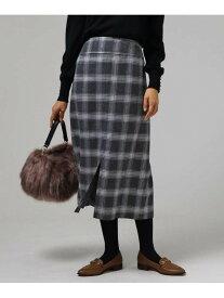 UNTITLED リチェッタクロスチェックミモレスカート アンタイトル スカート スカートその他 グレー ブラウン【送料無料】