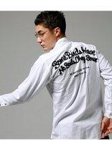 バック刺繍オックス長袖シャツ
