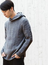 【WEB限定】SC ★★バルキーアラン フーディー ニット / ニットパーカー