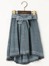麻レーヨン ピグメント 裾段差 フレアースカート