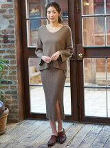 【雑誌掲載】otonaMUSE 4月号 竹下玲奈着用 7GGコットン杢糸 リブニット・スリットスカート