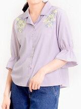 リリー柄刺繍シャツ