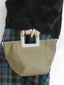 BASE BASE/スクエアハンドルトートバッグ ベース バッグ ハンドバッグ カーキ グレー ブラック イエロー【送料無料】