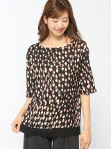 (W)絞りプリント裾配色半袖ブラウス・シャツ