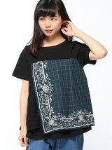 ハンカーチーフ刺繍異素材MIXTシャツ