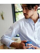 ピンオックスコンチョ釦長袖シャツ