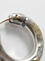 [ピアス]k18goldpost ThreeSides Hammered Hoop Pierce(S)/3mm body w/gold