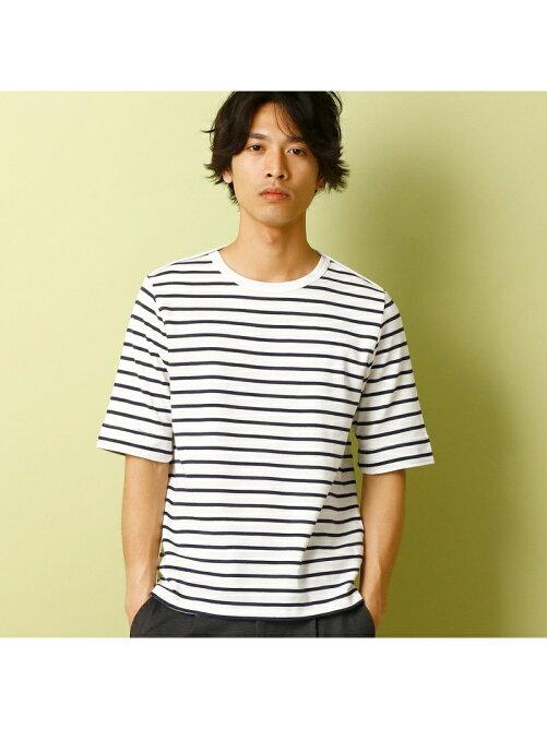 5分袖ボーダーTシャツ