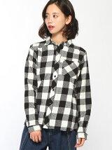 (L)シャギーネルチェックシャツ