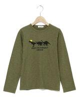 ラフ天竺恐竜3頭プリント長袖Tシャツ