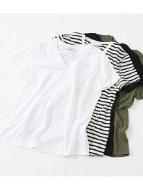 【SALE/50%OFF】AZUL by moussy ベーシックショートスリーブVネックTシャツ アズールバイマウジー カットソー カットソーその他 ホワイト ブラック
