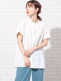 【SALE/15%OFF】coen バックタックフレンチスリーブバンドカラーシャツ# コーエン シャツ/ブラウス 半袖シャツ ホワイト ベージュ ネイビー