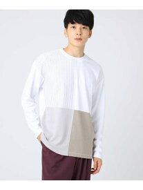 【SALE/44%OFF】tk.TAKEO KIKUCHI ストライプパッチワークロングTシャツ ティーケータケオキクチ カットソー Tシャツ ホワイト ブラック ネイビー