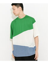 カラーブロックドTシャツ(5分袖)