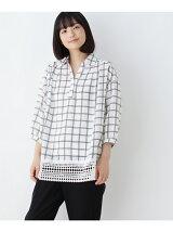 スキッパー裾レースシャツ