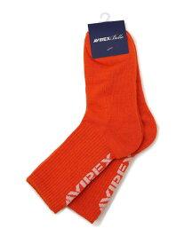 AVIREX ウィメンズ AVIREX ニューヨーク ソックス 靴下/ WOMEN'S AVIREX NYC SOCKS アヴィレックス ファッショングッズ ソックス/靴下 オレンジ ホワイト ブラック