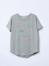 フラワータイポ柄Tシャツ