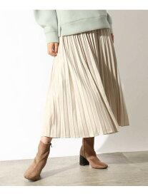 OZOC カレンダーサテンプリーツスカート オゾック スカート ロングスカート ブラウン カーキ【送料無料】