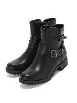 (L)カジュアルショートブーツ ブラック