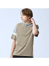 カラーブロックモックネックZIP Tシャツ