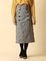 《Pream de toile》グレンチェック柄フロントボタンIラインスカート