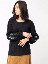 0袖刺繍パフスリーブプルオーバー
