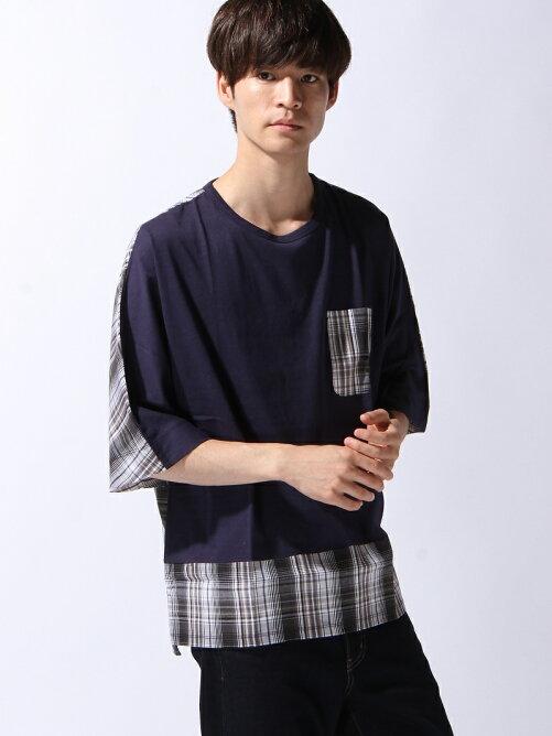 【BROWNY】(M)ポケット切替ドルマンTシャツ