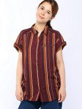 マルチストライプジップシャツ