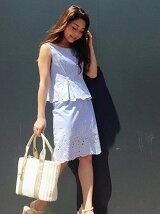 裾レース刺繍トップス&スカート