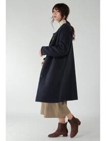 【SALE/70%OFF】ikka ノーカラースライバーコート イッカ コート/ジャケット ロングコート ネイビー グレー