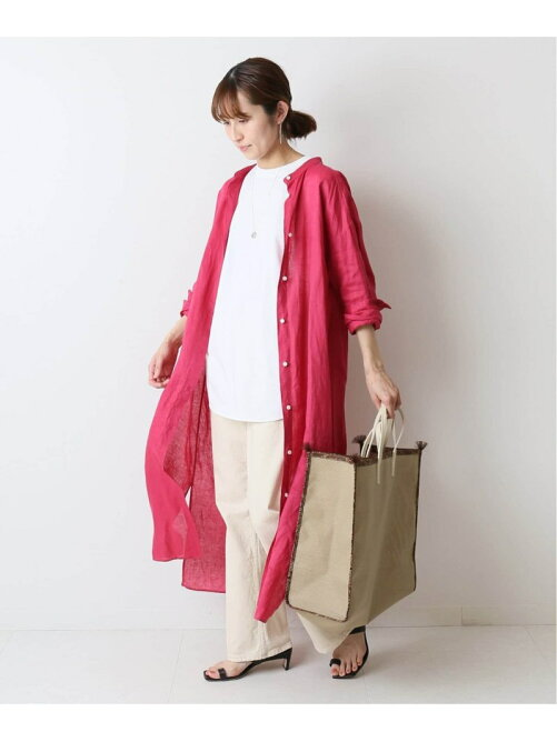 FRENCH LINEN シャツワンピース◆