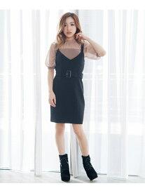 【SALE/50%OFF】LIP SERVICE バックスピンドルジャンスカ リップサービス スカート ジャンパースカート ブラック ブラウン【送料無料】