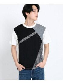 【SALE/40%OFF】THE SHOP TK 斜め切替Tシャツ ザ ショップ ティーケー カットソー Tシャツ ブラック レッド パープル ネイビー