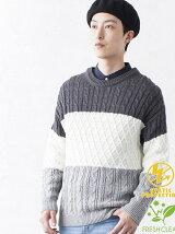 BROWNY/(M)ケーブルブロッキングセーター