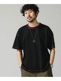 【SALE/30%OFF】nano・universe <WEB限定>カラーダブルステッチワイドTシャツ ナノユニバース カットソー Tシャツ ブラック ホワイト ネイビー