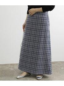 【SALE/70%OFF】ADAM ET ROPE' 【WEB限定】ウールチェックマキシスカート アダムエロペ スカート スカートその他 ネイビー ブラウン