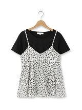 小花柄キャミソール+インナーTシャツセット