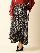 【秋の新作】《INED》前合わせレイヤードフラワースカート