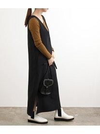 ADAM ET ROPE' 【WEB限定】Iラインジャンパードレス アダムエロペ スカート ジャンパースカート ブラック ブラウン ベージュ【送料無料】