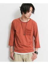 ニットポケット七分袖Tシャツ