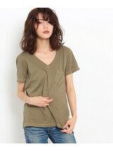 胸ポケットVネックTシャツ
