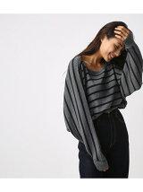 リブ編みポンチョ型ニットプルオーバー