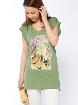 (W)グラフィックVネック半袖Tシャツ・カットソーSP
