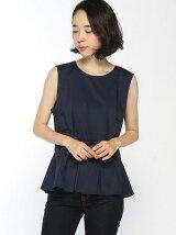 (W)バックボタン裾フリルノースリーブブラウス・シャツ