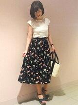 花柄プリントロングスカート