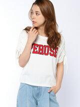 袖シャーリングTシャツ