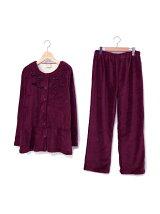 秋冬もこもこルームウエア もこもこ無地リボン裾フリルセットアップ