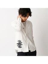 菱刺し刺繍フレンチリネン羽織シャツ