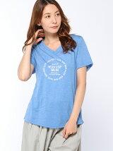 VネックプリントTシャツ【NEVER】