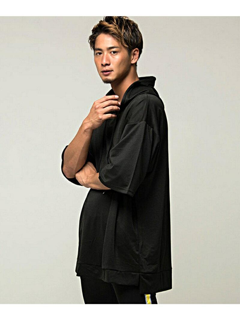 VICCI VICCIメンズ フード付きビッグシルエット6分袖Tシャツ シルバーバレット カットソー